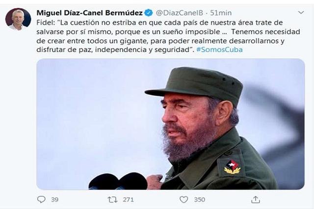 Presidente de Cuba evoca ideas de Fidel sobre unidad latinoamericana