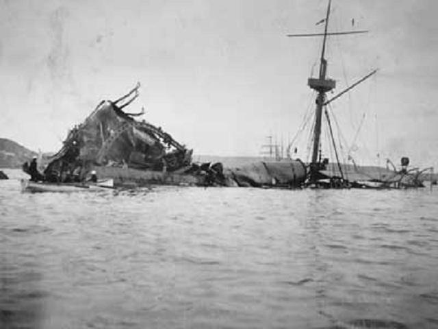La explosión del acorazado Maine.