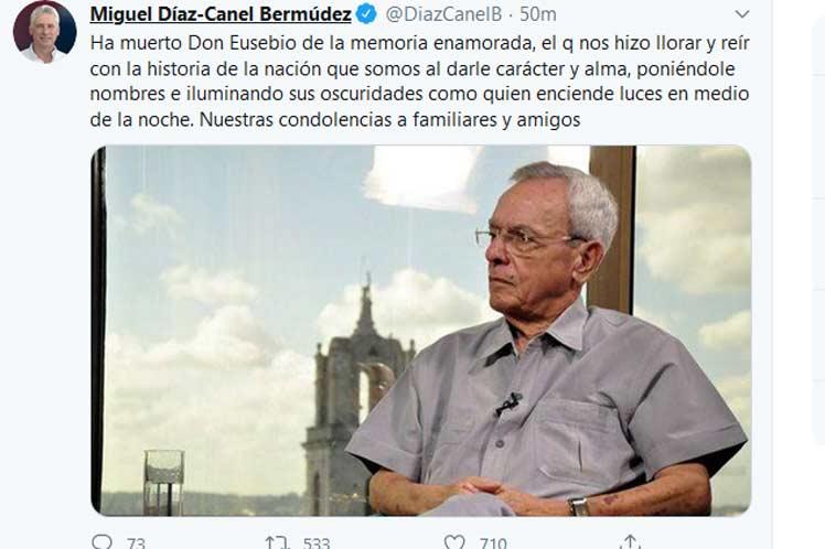 Díaz-Canel transmite condolencias por fallecimiento de Eusebio Leal