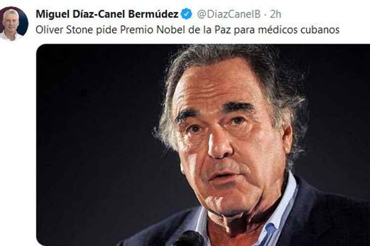 Presidente de Cuba destaca gesto solidario de cineasta Oliver Stone