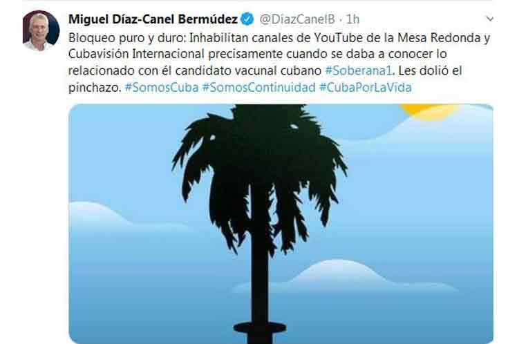Díaz-Canel, bloqueo de canales digitales es reacción ante Soberana 1