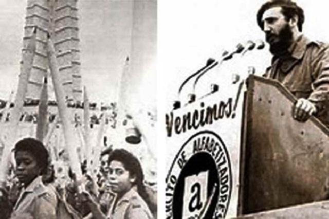 Fidel y la campaña de alfabetización.