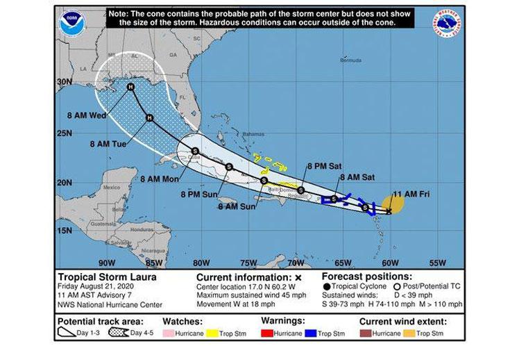 Aviso para Cuba por tormenta tropical Laura.