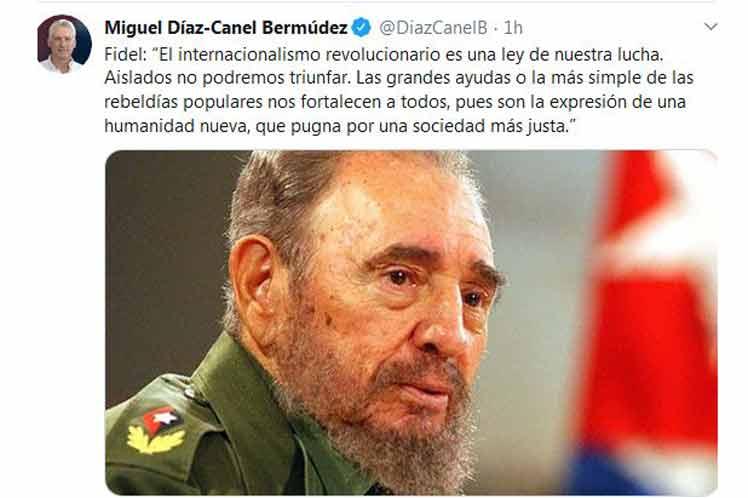 Diaz-Canel evokes the internationalism of Fidel Castro.