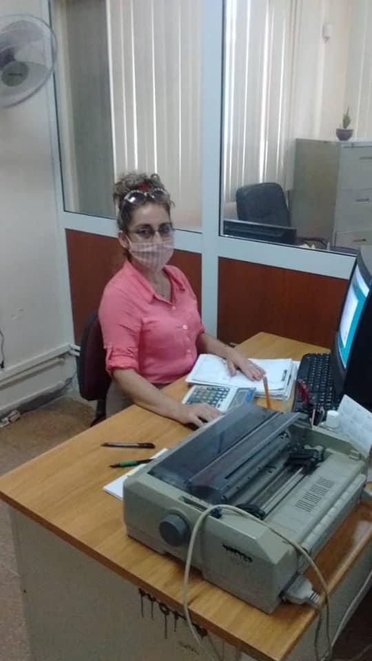 Yamira Pérez Mena, outstanding worker at the Banco de Crédito y Comercio de San Nicolás.