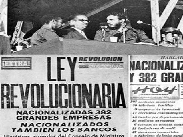 Aniversario 60 de la nacionalización de la banca y grandes empresas en Cuba.