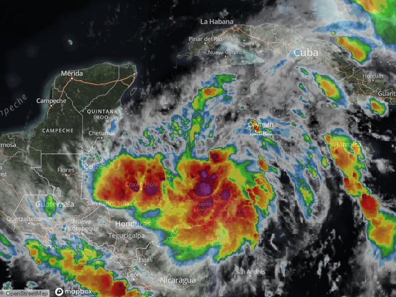 Tormenta Tropical Zeta estacionaria al sur de Cuba.