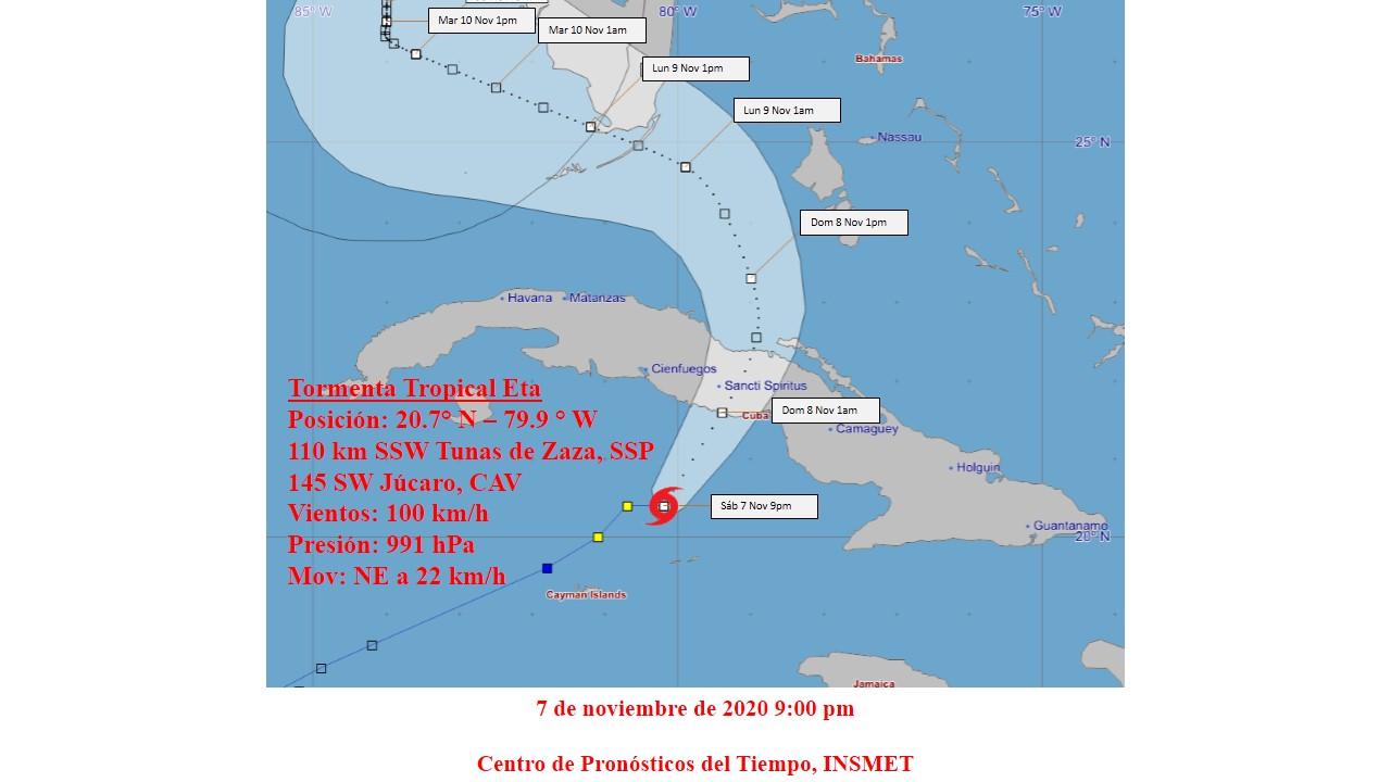 Eta rumbo a la costa sur central de Cuba. Foto:Instituto de Meteorología.