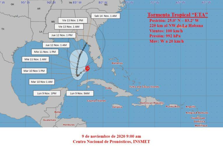 Eta se mueve sobre el sudeste del golfo de México