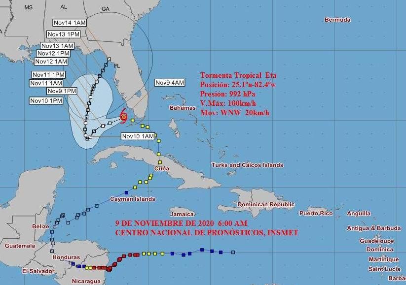 Eta se mueve sobre aguas del golfo de México.