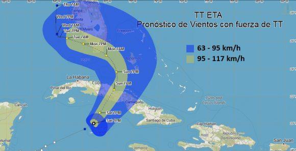 : Pronóstico de vientos de la tormenta tropical