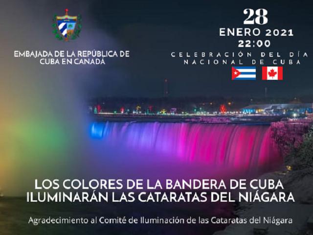 Exhibirán Cataratas del Niágara colores de la bandera de Cuba.