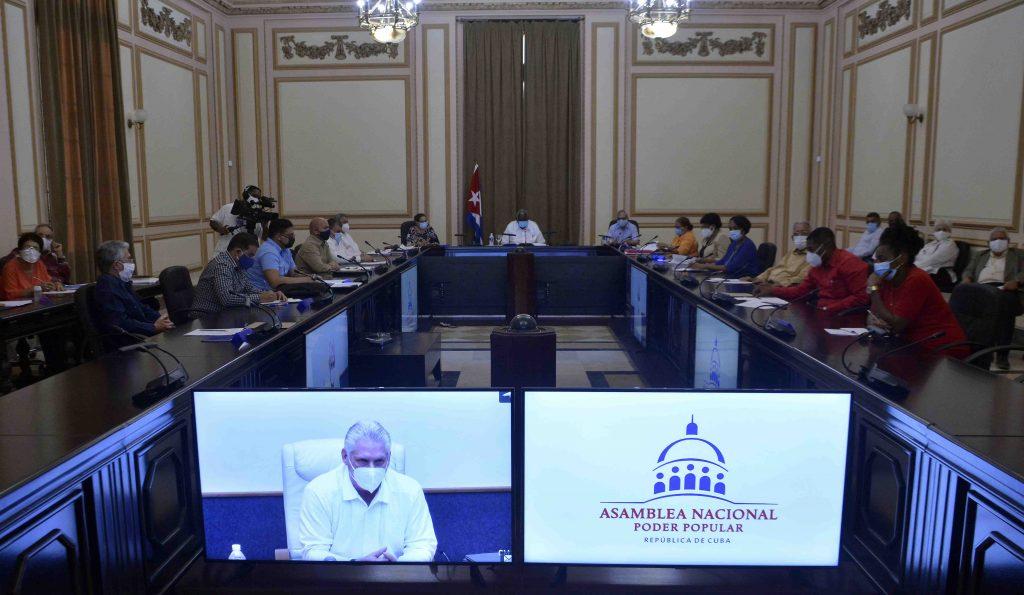La reunión se desarrolló mediante videoconferencia desde el Capitolio de La Habana Foto: Radio Reloj