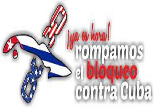 Apoyo internacional a la lucha contra el bloqueo económico a Cuba.
