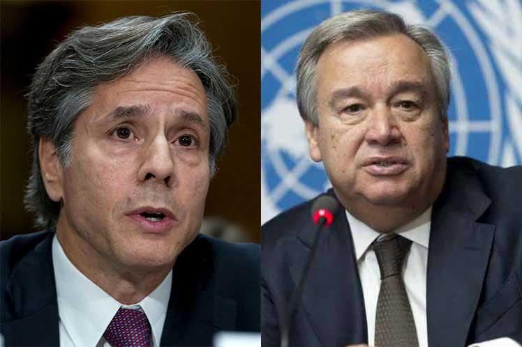 Titular de Naciones Unidas dialogará con jefe de diplomacia de Estados Unidos