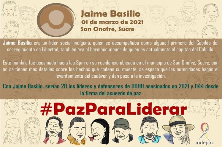 Denuncian muerte violenta de otro líder social en Colombia