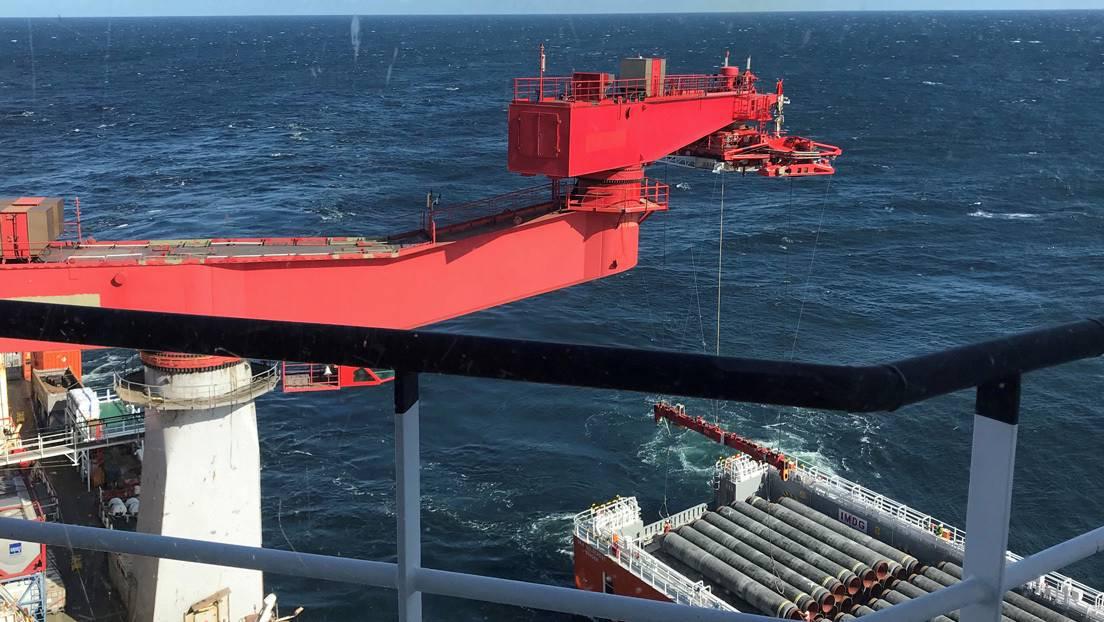 Gasoducto Nord Stream 2 que se construye en el fondo del mar Báltico.