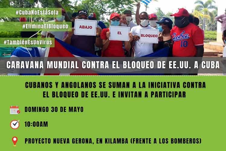 En Angola caravana contra bloqueo de Estados Unidos a Cuba.