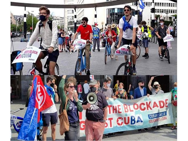 Apoyo a Cuba contra bloqueo económico en calles de Bruselas.