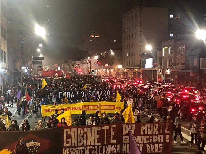 Protestas en Brasil contra el gobierno de Bolsonaro.
