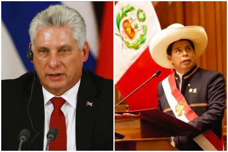 Presidente de Cuba felicita a Pedro Castillo de Perú.