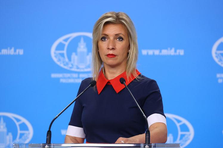 María Zajárova, portavoz de la Cancillería rusa.