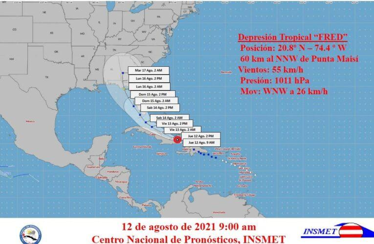 Aviso de Ciclón Tropical. Centro de Pronósticos, INSMET. Fecha: 12 de agosto de 2021. Hora: 9:00 am.