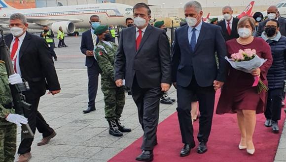 Presidente cubano Miguel Díaz-Canel llega a México para cumplimentar visita oficial